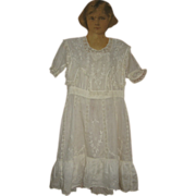 REDUCED Lovely White Lawn and Lace Childs Graduation or Baptism Dress
