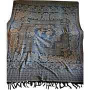 Reversible Lovely Vintage Blue and White Damask Type Bedspread