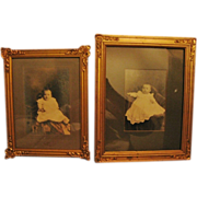 SOLD 2 Antique Baby Photos in Ornate Gold Painted & Adorned Frames