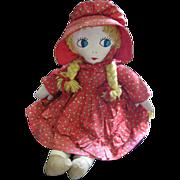 SOLD Vintage Ragdoll Blonde Big Eyed Cloth Doll