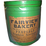 RARE Lancaster Pa Bakery Tin Fairview Bakery Franklin Kissingers