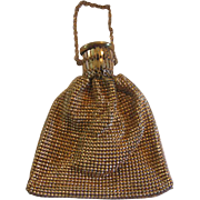 Vintage Whiting & Davis Gold Tone Mesh Gate Top Purse