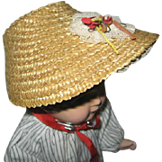 Vintage Straw Poke Bonnet with Lace Trim & Rosette
