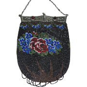 Antique Beaded Purse with Unique Frame and Lovely Roses