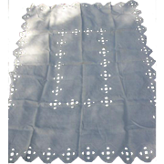 Vintage Linen Tablecloth with Open Work