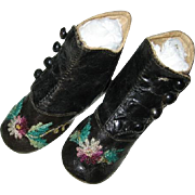 Antique Hightop Button Baby Shoes with Embroidered Flowers