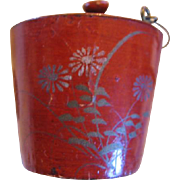 SALE Miniature Painted Paper Mache Pail with Bale Handle