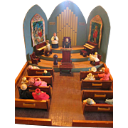 Handmade Miniature Church Model with Furniture and People Amazing Diorama