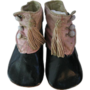 Antique Baby Shoes Pink & Black Leather Hightop Button Shoes with Tassels