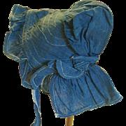 REDUCED Antique Indigo Blue Prairie Doll Bonnet