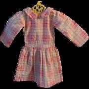 Doll Dress Pink Plaid Drop Waist Early 1900s
