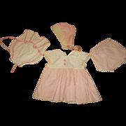 Tiny Tears Dress Bonnet Undies and Sun Suit