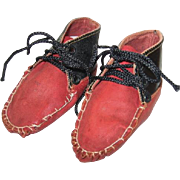 Old Red and Black Leather Baby Shoes