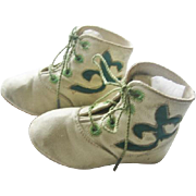 Unique Baby Shoes Cream Leather with Emerald Green Fabric Inserts