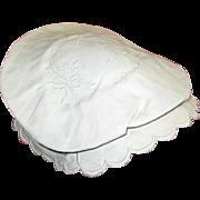 1800s White on White Tam O Shanter Type Bonnet Herr Estate