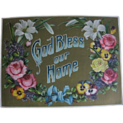 God Bless Our Home Victorian Lithograph by Currier-Boyce Co.