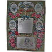 God Bless Our Baby Victorian Era Lithograph Record Keeper