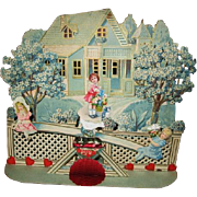 Large Elaborate 3 Dimensional Diecut Valentine Girls on Movable See-Saw
