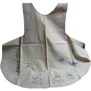 1920s Sun Bonnet Sue Embroidered Childs Apron Herr Estate