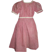 Red Calico Doll or Baby Dress for Large Cloth or China Head Doll