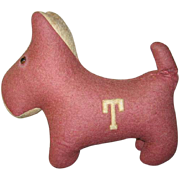 Red Stuffed Mascot Dog Initial T