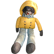 Black Americana Cloth Doll with Human Hair and Felt Outfit