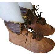 Unusual Baby Shoes for Boy with Collar Pom Poms and Tasseled Laces