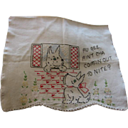 Vintage Scotty Dog Embroidered Towel and Baby Pillow Case