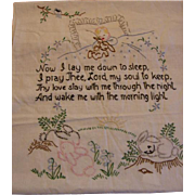 Embroidered Adorable Now I Lay Me Down To Sleep Prayer with Baby Bunnies and Birds