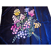 Beautiful Pillow Cover with Embroidered Flower Bouquet on Black