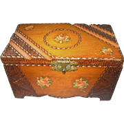 Precious Carved Wooden Trunk for Dolls