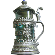 German MIniature Metal Filigree Stein with Blue Glass for Dollhouse German Roombox or Antique