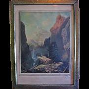 R Atkinson Fox Print in Period Frame