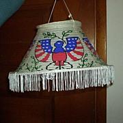 SALE Patriotic Lantern with Fringe MIJ Paper Vintage Red White Blue Shade