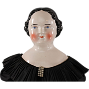 REDUCED Early c1860s Kestner Pink Tint China Head Lady Doll Large Size