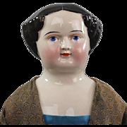 REDUCED Kestner China Head Lady Doll 1860 Unusual Face