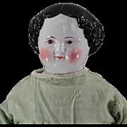 REDUCED Civil War Era BROWN Eye China Head Doll
