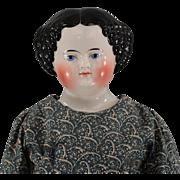 REDUCED c1860s China Shoulder Head Gorgeous High Glaze Fabulous Body