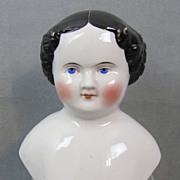 "REDUCED China Doll Head 6-1/2"" Civil War Era Heavy Modeling"