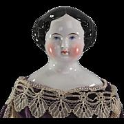 REDUCED Civil War Era China Head Doll Highly Glazed Final Reduction