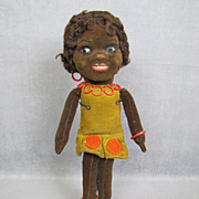 REDUCED Norah Wellings Cloth Doll GLASS Eyes Black Islander All Original