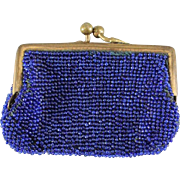SALE Antique Cobalt Blue Beaded Purse for Doll