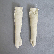 "REDUCED Vintage Cream Kid Leather Doll Arms 3"" Mitten Hands"