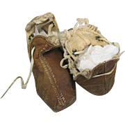 REDUCED Early Leather Moccasins for Baby or Large Doll