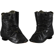 REDUCED Antique Doll Boots Black Kid Leather