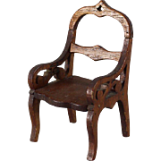 REDUCED Early Scroll Cut Walnut Doll Chair Small Size
