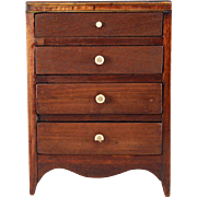 SALE Early Miniature Chest of Drawers c1820s Cherry Bracketed Feet