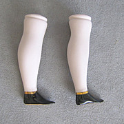 REDUCED Parian Bisque Doll Legs Pink Tint with Flat Black Boots Gold Accents