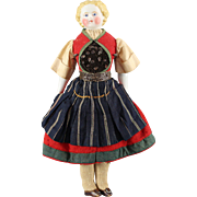 REDUCED German Bisque Doll Original Complete Ethnic Costume Cabinet Size