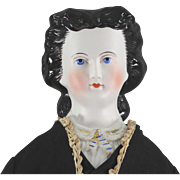 SALE Parian Type Empress Eugenie Unusual BLACK Glazed Hair